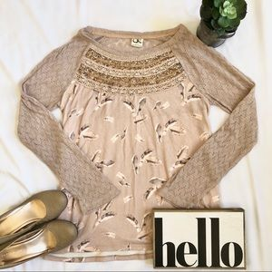 One September 🌿 Anthropologie Long Sleeve Top Lg